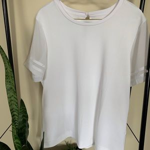 Tops - White blouse with sheer sleeves